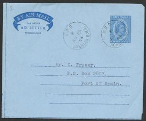 GRENADA 1964 7c airletter used to Trinidad.................................51433