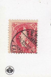 SWITZERLAND (MK6850) # 97 F-USED 1fr 1891-99  HELVETIA /LARGE NUMERALS / CARMINE
