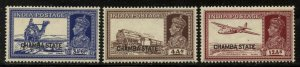 India-Chamba 1938 George VI Overprint group Sc# 72/81 NH