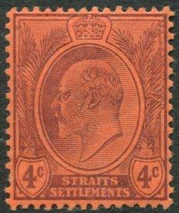 STRAITS SETTLEMENTS-1904 4c Purple/Red Sg 129 LIGHTLY MOUNTED MINT V50182