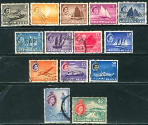 Singapore; 1955: Sc. # 28-41: O/Used Short Set