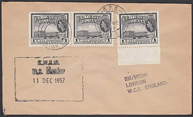 BR GUIANA 1957 ship cover with cachet of MS MENTOR..........................G525