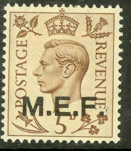 GREAT BRITAIN MIDDLE EAST FORCES 1942-43 KGVI 5d London Printing Sc 5 MH