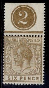 BAHAMAS GV SG86, 6d bistre-brown, VLH MINT. CONTROL