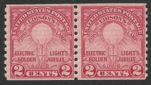 Doyle's_Stamps: MNH 1929 2c Electric Light Coil Pair, Scott #656**
