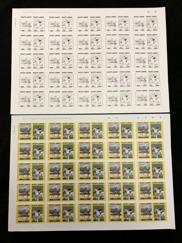 St Lucia Sport Horses Format Imperf Colour Proof Sheets MNH x 20(kR133