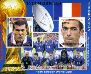 Turkmenistan 1998 FOOTBALL WORLD CUP FRANCE '98 s/s Perforated Mint (NH)