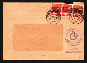 Germany 1948 Hospital Cover / Post Horn Strip of 3 - Z14124