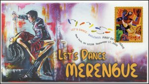 AO-3939-2, 2005, Let's Dance, Merengue, Add-on Cachet, FDC, DCP, Dance, SC 3939