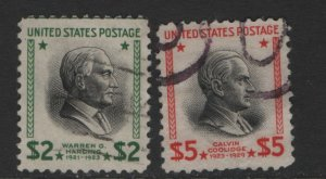 US  833-834 USED PREXIES HIGH VALUES 1938