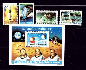 St Thomas and Prince is 578 - 82 MNH 1980 Anniv of first Moon Landing