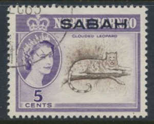 SABAH Opt on North Borneo  SG 410a  SC# 3* Used   Clouded Leopard see scans /...