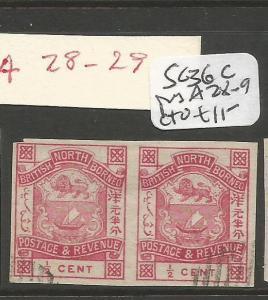 North Borneo SC 36c Pair A28-9 Ctu NGAI (8cma)