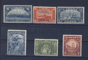 6x Canada Mint Stamps;  #202-203-204-208-209-210.  Guide Value = $72.00.