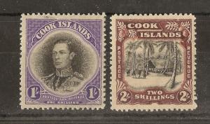 Cook Islands 1938 1/- & 2/- SG127-128 Mint Cat£31