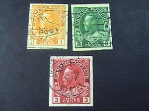 CANADA # 136-138--USED--COMPLETE SET---IMPERFORATE AS ISSUED---GEOV---1924