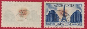 France - 1951 - Scott #672 - used - SI perfin