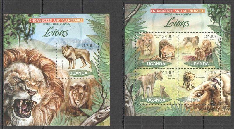UG035 2012 UGANDA LIONS WILD CATS ENDANGERED & VULNERABLE #2975-8+BL408 MNH