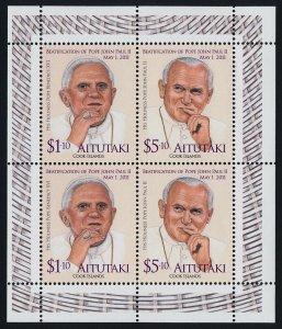 Aitutaki 580 sheet MNH Pope John Paul II, Pope Benedict XVI