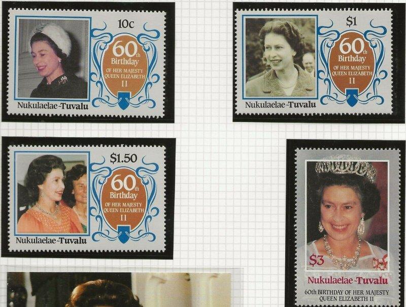 NUKULAELAE-TUVALU 1986 60TH BIRTHDAY QUEEN ELIZABETH,SET OF 4 PERF