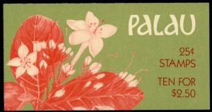 Palau #133a Flowers Full Booklet MNH with 1 pane of 10