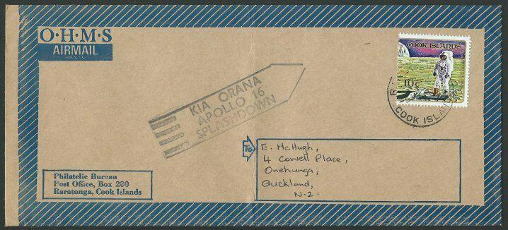 COOK IS 1972 cover - Apollo 16 splashdown handstamp........................11582