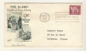 US - 1956 - Scott 1043 FDC - 9c The Alamo, Texas -