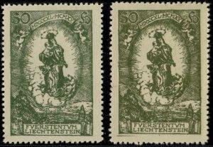 LIECHTENSTEIN - 1920 - Mi.40 two examples in different shades - Mint**