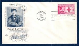 UNITED STATES FDC 3¢ Clara Barton 1948 ArtCraft