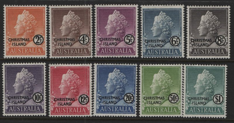 CHRISTMAS ISLAND, 1-10, (10) SET, 1958, Queen Elizabeth II