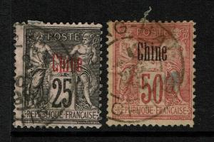 French Offices in China SC# 6 and 9, Used, Hinge Remnant, see notes - S3331