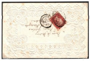 GB WALES Cover Fancy Lace Style Embossed E Swansea 1d Red London 1875 PB188