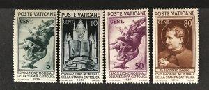 Vatican City 1936 #47-8, 50, 52, Unused/MH, CV $7.10
