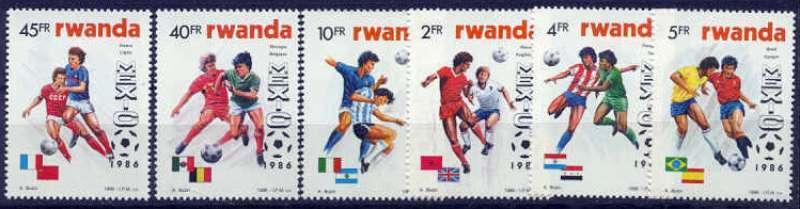 Rwanda - 1986 World Cup Football - 6 Stamp  Set #1256-61 - 18A-055