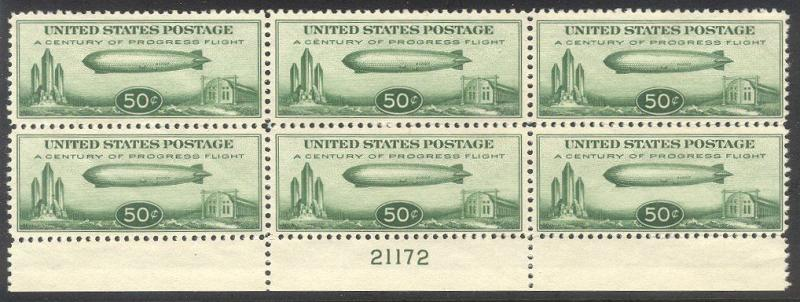 U.S. #C18 Mint NH Plate Block - 1933 50c Zeppelin