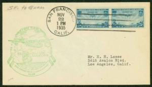 1935 FIRST FLIGHT TRANS-PACIFIC FAM RT 14-1b. SAN FRANCISCO TO GUAM  (ESP#1638)