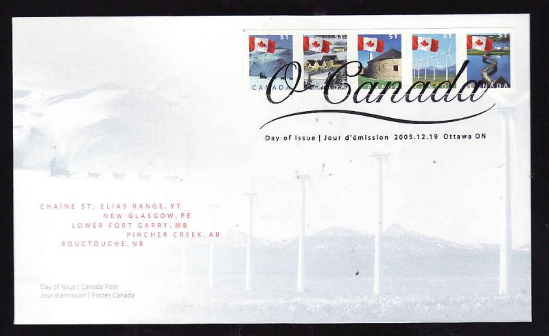 Canada-Sc#2135-9-stamps on FDC-Flags over Canada-2005