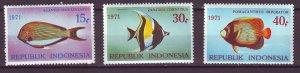 J25038 JLstamps 1971 indonesia set mnh #810-12 fish
