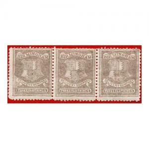 Circular Delivery SGCD51a Birmingham 3/4d brown lilac mint horizontal triple (i