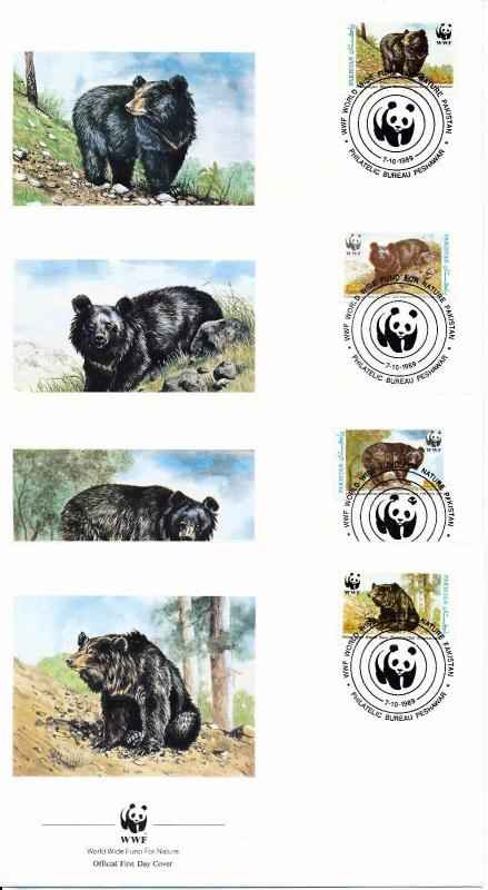 [54145] Pakistan 1989 Wild animals Mammals WWF Bears FDC 4 covers