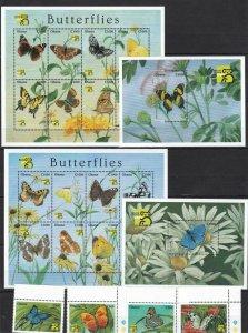 Ghana 1999 butterflies insects set+2klb+2s/s MNH