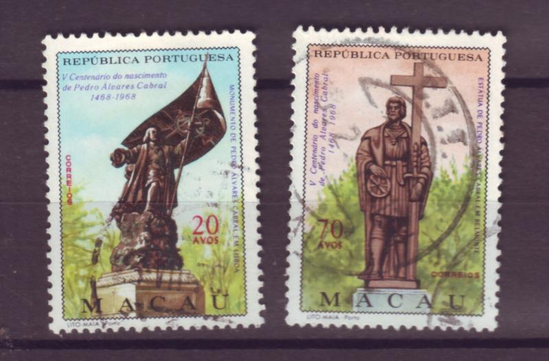 J17735 JLstamps [low price] 1968 macao set of 2 used #415-6 cabral issues