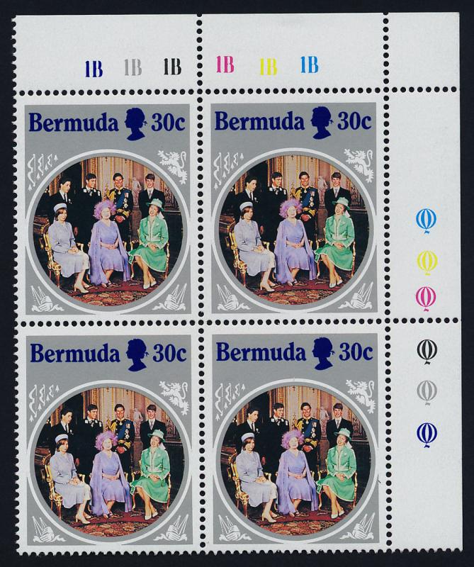 Bermuda 470 TR Plate Block Inverted Watermark MNH Queen Mother 85th Birthday