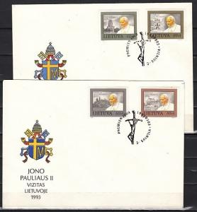 Lithuania, Scott cat. 461-464. Pope John Paul II issue. 2 First day covers. ^