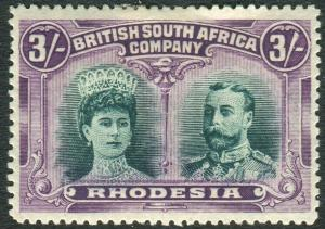 RHODESIA-1910-13 3/- Bright Green & Magenta.  A mounted mint example Sg 154a