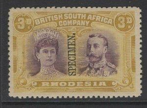 RHODESIA SG137s 1910-3 3d VIOLET & OCHRE SPECIMEN MTD MINT