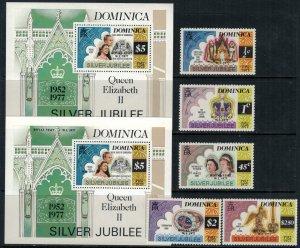 Dominica #549-54* NH  CV $3.80  Royal Visit overprints set & 2 Souvenir sheets