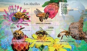 COMORES 2011 SHEET BEES ABEJAS BIENEN ABELHAS ABEILLES INSECTS  FLOWERS cm11119a