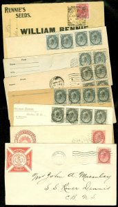 EDW1949SELL : CANADA Very nice collection of 8 Early Queens & Maple Leaf covers.