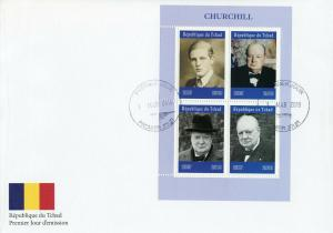 Chad 2019 FDC Winston Churchill 4v M/S Cover Politicians Famous People Stamps